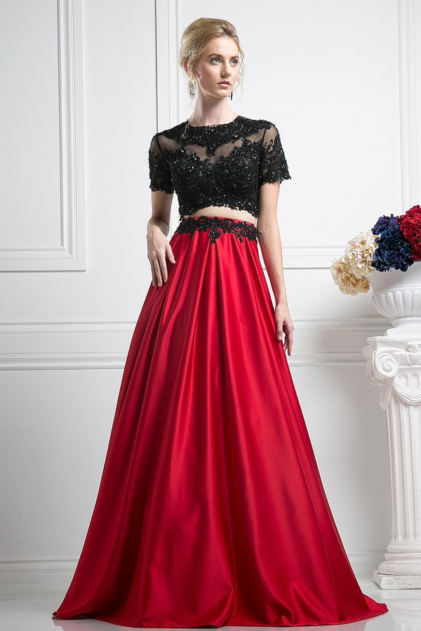 Red Amp Black Short Sleeve Two Piece Long Gown 2016 Prom Dresses