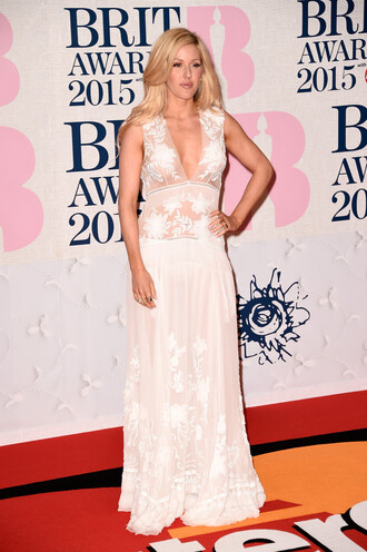 dress gown ellie goulding brit awards 2015 red carpet dress