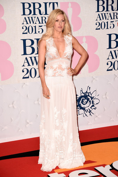 dress gown ellie goulding brit awards 2015 red carpet dress celebrities in white
