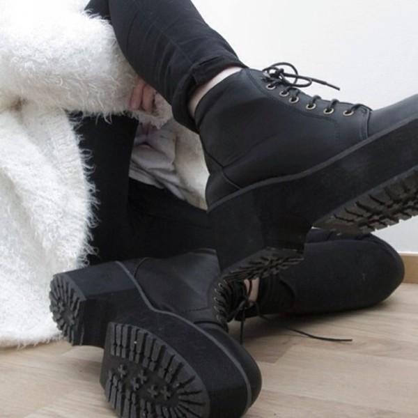 shoes black shoes grunge platform shoes