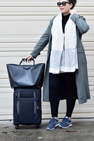 leggings plus size leggings scarf green coat black leggings sneakers curvy plus size grey sneakers new balance coat trench coat bag black bag suitcase airport fashion sunglasses