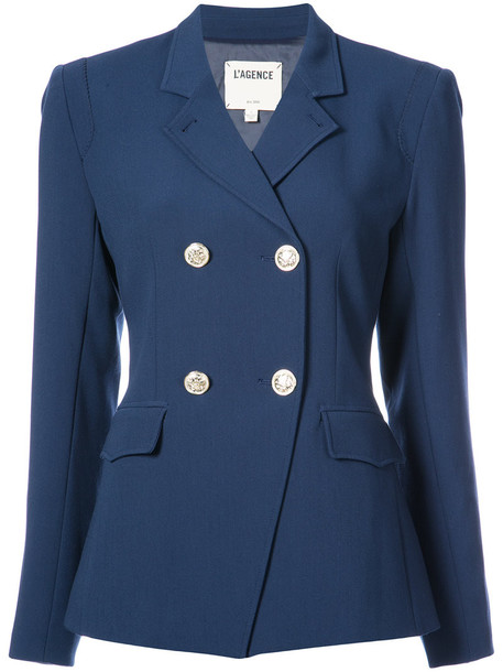 L'Agence blazer double breasted women spandex blue jacket