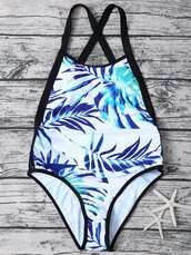 swimwear,summer,beach,one piece swimsuit,pattern,leaves,blue,white,zaful