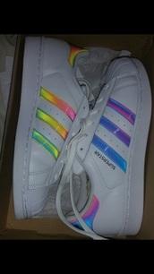 shoes,adidas,adidas shoes,adidas superstars,adidas originals,adidas supercolor,rainbow,stripes,white,white shoes,colorful stripes
