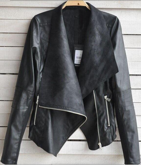 New Fashion Womens Synthetic Leather Jacket Short Slim Coat Motorcycle Black HOT