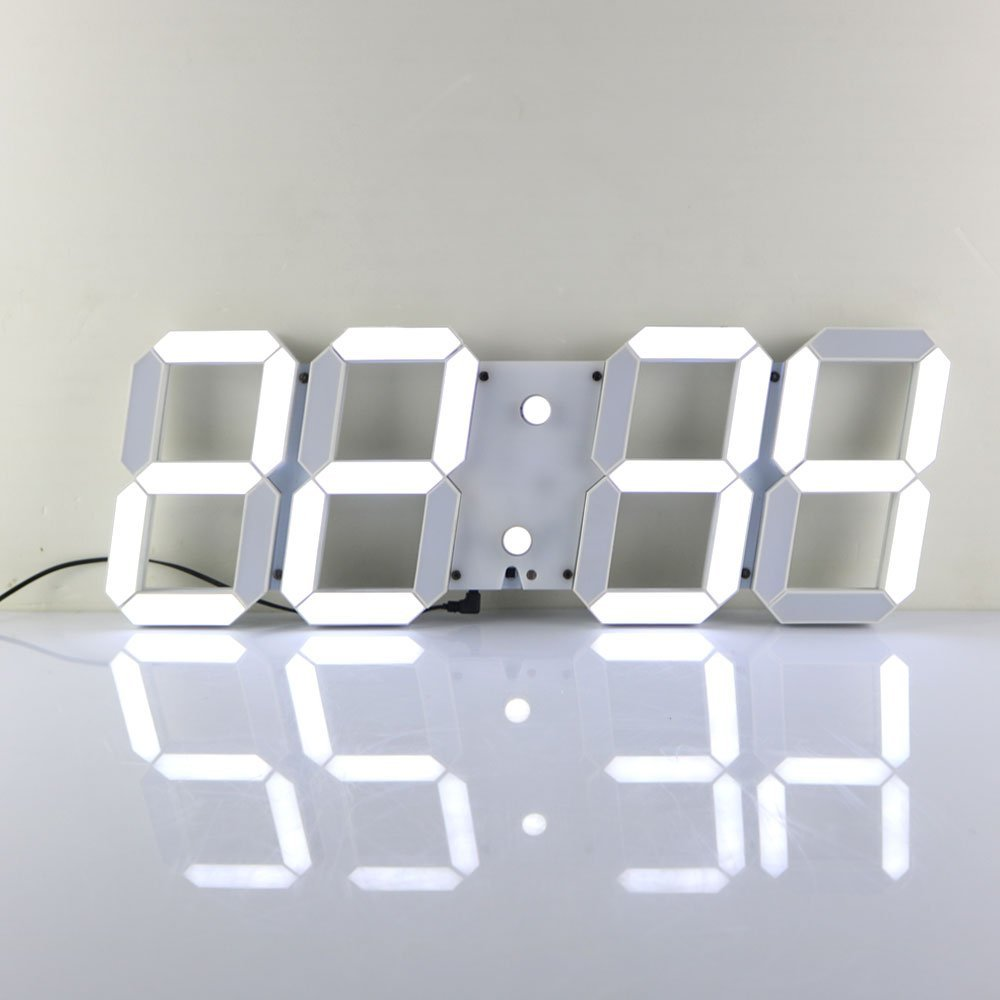 Com chihai remote control jumbo digital led wall clockwhite amazon chihai remote control jumbo digital led wall clockwhite shell white digital home kitchen amipublicfo Images