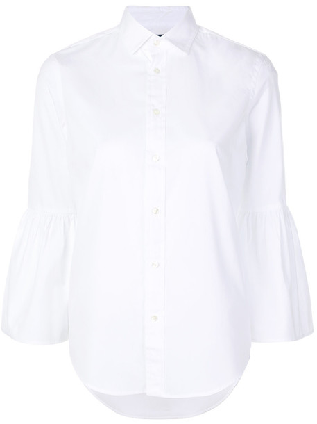 Polo Ralph Lauren - flared sleeve shirt - women - Cotton - 4, White, Cotton