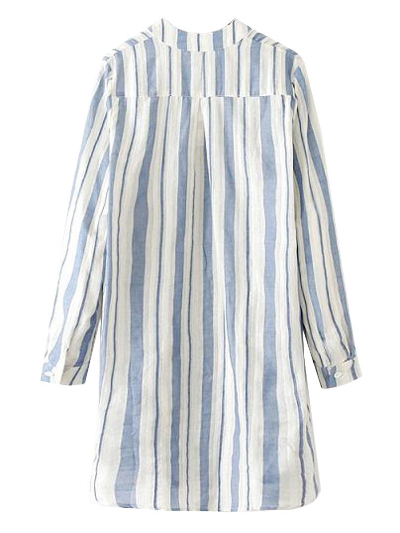 Vertical stripe pocket shirt in longline