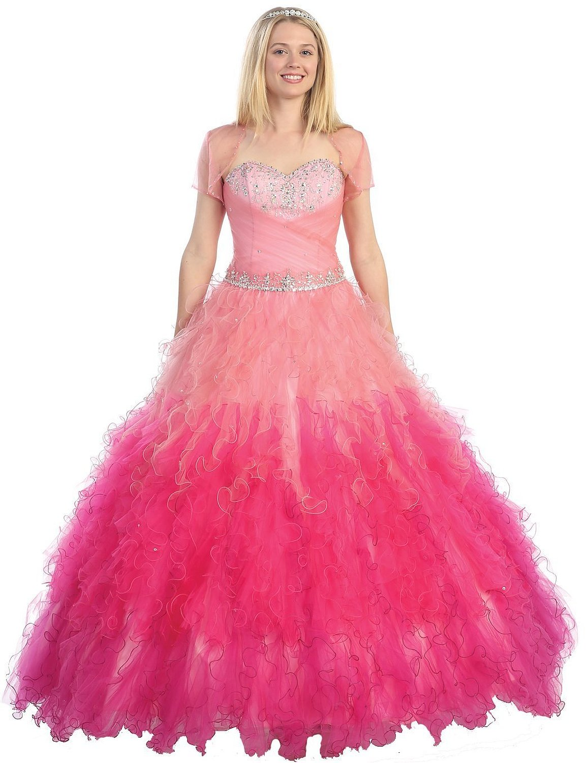 Amazon.com: EnjoyBuys Ball Gown Formal Prom Dress Strapless Ruffled ...
