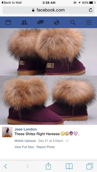 shoes ugg boots burgundy boots fur