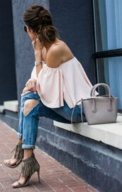 top,cold shoulder,khaki sandals,pink top,ruffled top,off the shoulder top,off the shoulder,denim,ripped jeans,jeans,blue jeans,sandals,fringe shoes,high heel sandals,bag,grey bag,small bag,summer outfits
