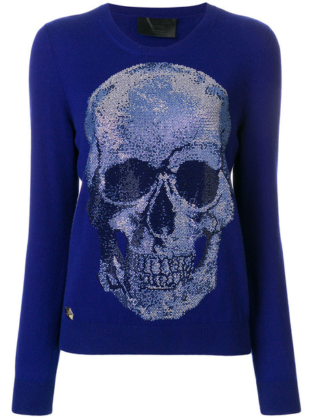 jumper skull women embellished blue sweater