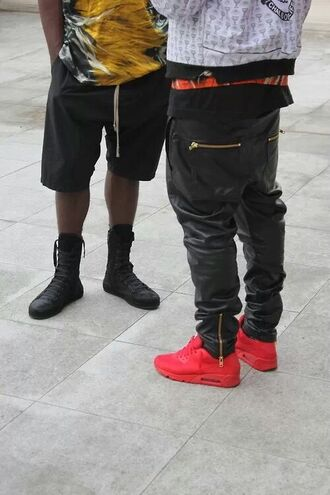 pants leather jeans leather pants black menswear for men shoes