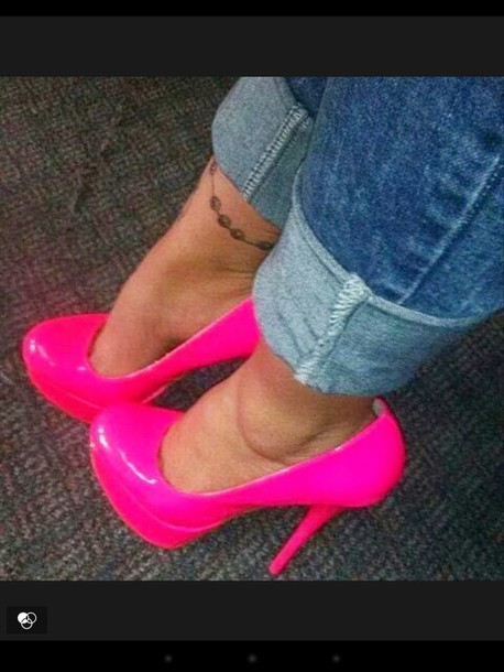 shoes pink shoes high heels tall heels