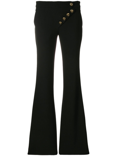 women spandex black silk wool pants