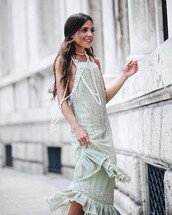 dress,tumblr,green dress,mint,mint dress,event,formal event outfit,evening outfits,midi dress,necklace,accessories,Accessory,jewels,jewelry