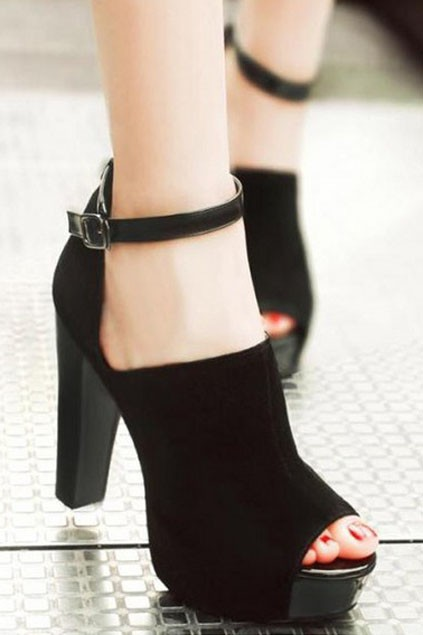 Elegant Black Peep-toe Cut out Pumps with Ankle Strap - OASAP.com