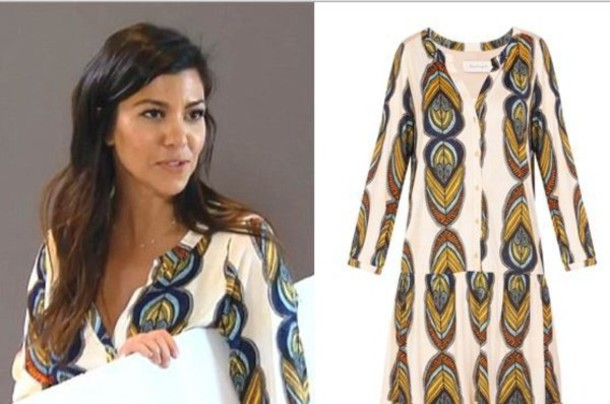 kourtney kardashian patterned dress