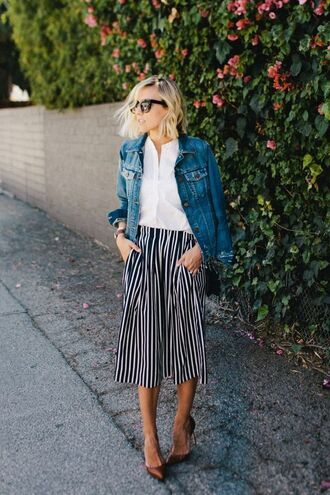 jacket denim jacket pants stripes white top white shirt sunglasses heels pumps