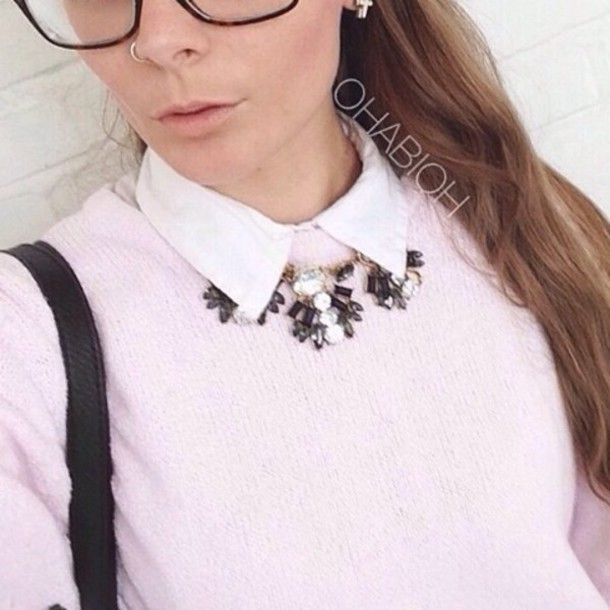 sweater statement necklace