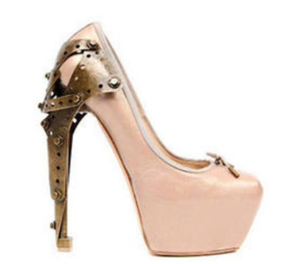 unique gold cute weird shoes high heels light pink pumps weird shoes weird heels retro
