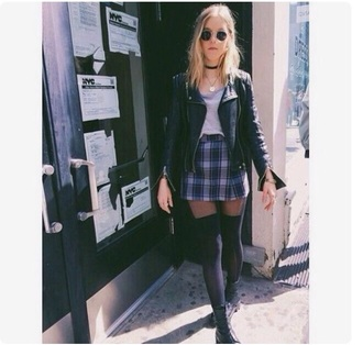 skirt jacket shirt rock dark goth grunge sunglasses knee high socks boots black boots fashion plaid