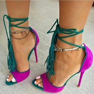 Magenta and Green Strappy Heels Suede Stiletto Heels Pumps