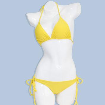Lemon Yellow Triangle Bikini Set on Wanelo