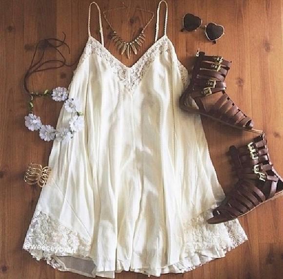 ivory dress dress white lace dress summer dress beach dress beach cover up shoes sunglasses jewels white dress white gladiators sandals bohemian dress