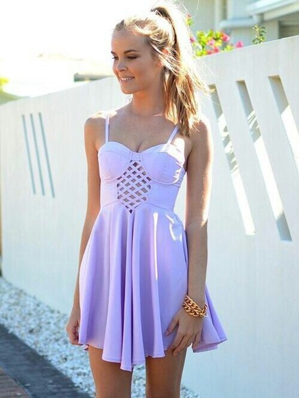 cut-out lavendar dress white dress