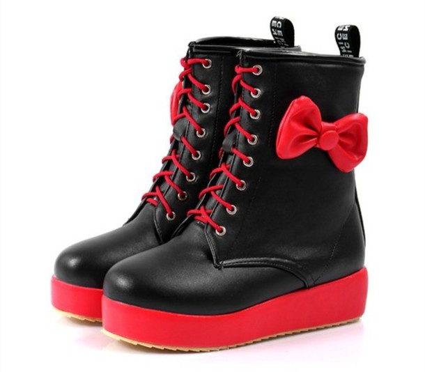 Shoes: combat boots, boots, ankle boots, red, black, lace up, bows ...