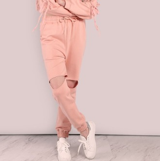 pants girl girly girly wishlist joggers joggers pants pink ripped ripped knee