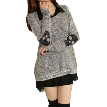 Meilaier Womens Fashion Skull Blouse Knitted Sweater Jumper Loose Knitwear at Amazon Women's Clothing store: