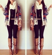 sweater,fashion,fall outfits,cute,cardigan,oversized cardigan,tribal cardigan,coat,shoes,jacket,winter sweater,jumper,christmas sweater,christmas,scarf,knitted cardigan,knitted scarf,leggings,black,cream,white,white scarf,black t-shirt,black crop top,crop tops,boots,brown leather boots,leather,gold chain,necklace,cross necklace,bag,brown bag,leather bag,cream cardigan,red,blue,jeans,denim,black jeans,girly,tribal pattern,tank top,colorful,cozy