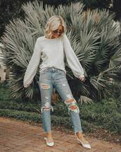 jeans,high waisted jeans,ripped jeans,cropped jeans,pumps,slingbacks,sweater,sunglasses