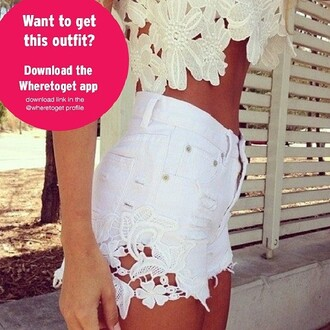 crochet shorts white shorts lace shorts lace top white off-white crop tops high waisted shorts jeans shorts white flower cut outs shirt summer blouse floral floral tank top cream blouse tank top lace classy flowered shorts pants hair accessory flower cut out hot pants