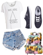 shirt,we are young,hipster,bag,vans,studs,palm tree print,shorts,colorful,backpack,blue,pink,yellow,funny,summer,t-shirt,young,top,crop tops,jeans,levi's,vintage,cool,skateboard,skater,fashion,teenagers,sparkle,cut off shorts,gorgeous,hipster bag,hippie,marijuana,style,trendy