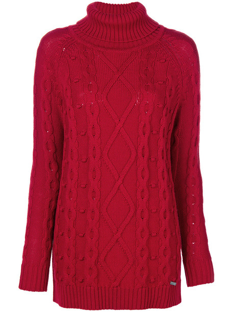 jumper women turtle wool red sweater