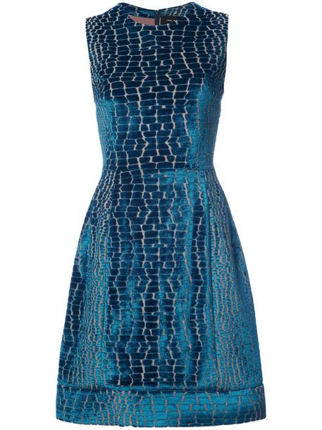 Yigal Azrouel dress velvet dress women spandex blue velvet crocodile