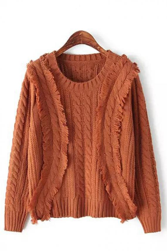 Tassel decorated round neck long sleeve loose pullover sweater