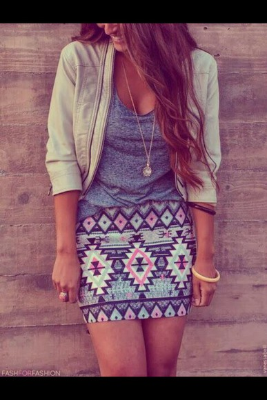 cute jacket aztec skirt Aztec skirt blue shirt shirt clothes
