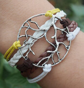 jewels,a tree of life,leather bracelet,bracelets,leaves