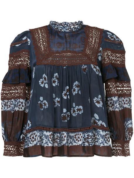 SEA blouse women print blue top