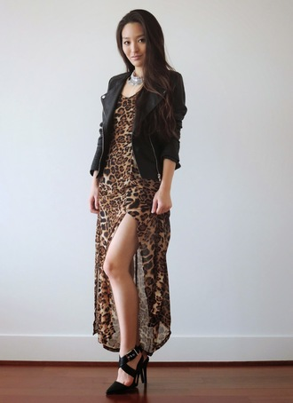 sensible stylista blogger shoes slit dress leopard print black jacket jewels dress jacket