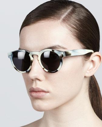 Illesteva Leonard Round Sunglasses, Horn - Neiman Marcus