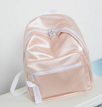 bag pink white baby pink backpack pink accessories accessories summer satin nude neutral love sportswear vintage feels summer accessories