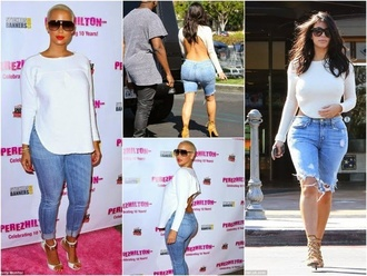 top amber rose kim kardashian backless long sleeves shorts jeans