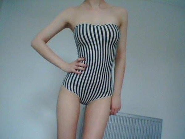 swimwear stripes body bodysuit pale black and white white black one piece