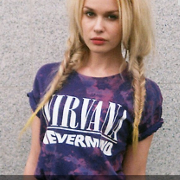 nirvana rock hipster tie dye top purple acidwash acid wash hippie