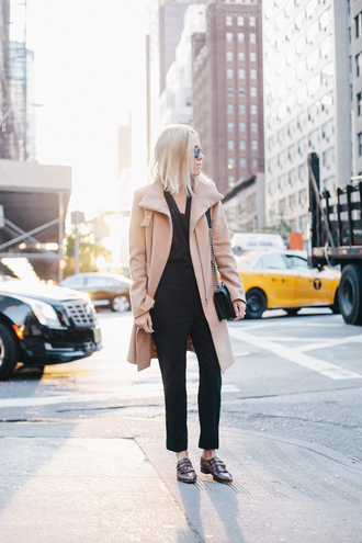 damsel in dior blogger jacket coat camel loafers bag office outfits fall outfits